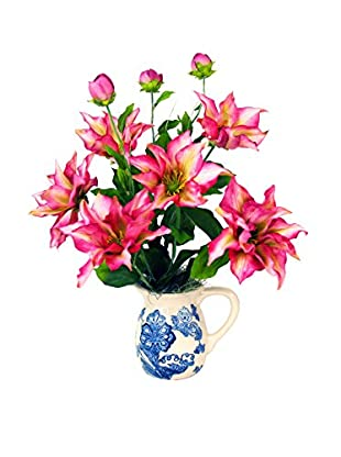 Creative Displays Clematis Delft Pottery Pitcher, Pink/Blue/White