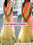 women's clothing stylish cream lehenga choli with orange dupatta