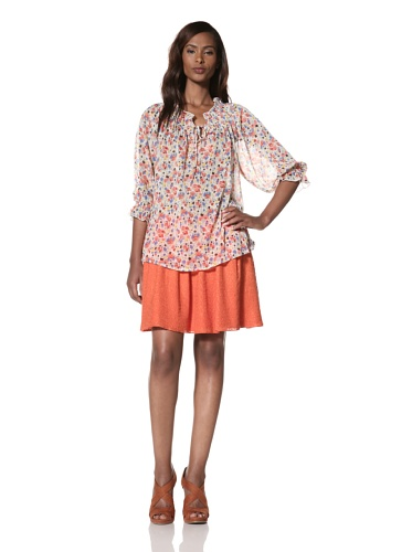 Dallin Chase Women's Norman Gathered Neck Peasant Top (Multi)
