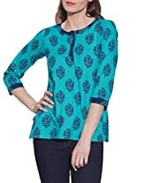 Cotton Printed Kurti Indian Casual Dresses For Women ,W-CPK46-1818,Size-46 Inch,TURQUOISE