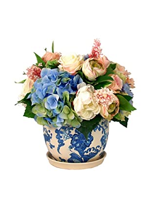 Creative Displays White & Blue Hydrangea in Delft Pot