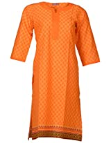 Bunkaari India Women's Cotton Regular Fit Kurti (00LK 37_44, Orange, 44)