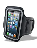 Protective iPhone 5 5G 5S Armband - Fully Adjustable Size Lightweight Armband Case with Key Holder for Gym Jogging Running Walking and Other Sports - Black