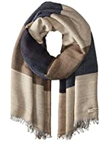 La Fiorentina Women's Italian Oversized Colorblock Scarf, Olive/Navy Combo/The One Pictured On Mannequin On The Cad, One Size
