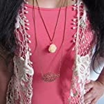 Under the Feather Layered Necklace- Bronze Leaf and Beige Flower