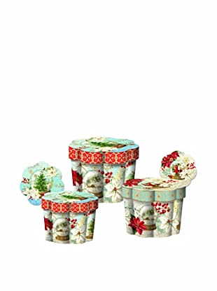 Punch Studio Nesting Set of 3 Fluted Boxes (Snow Globes)