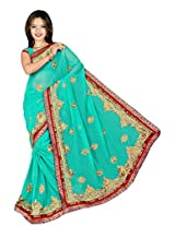 Chinco Embroidered Saree With Blouse Piece (1201-F_Light Blue)