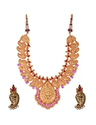 Jeweleteria Jade Stones Gold Plated Metal Alloy Necklace Set For Women - B00MGRGDBA