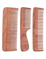 TULIR Neem Wood Comb, Combo of 3 (4 - 7 - 7.5 Inches)