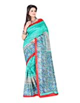 Jai Maa Ambey Creation Women's Cotton Silk Saree (Turquoise)