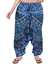 Exotic India Printed Harem Trousers from Pilkhuwa - Color Parisian BlueGarment Size Free Size