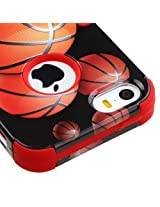 iPhone SE Case, Rock Me Wireless (TM) 2 items Bundle - 24K Gold Plating Sticker and Triple Layers Hybrid Protector Case Cover for Apple iPhone SE / 5S / 5. (Basketball Hoop / Red)