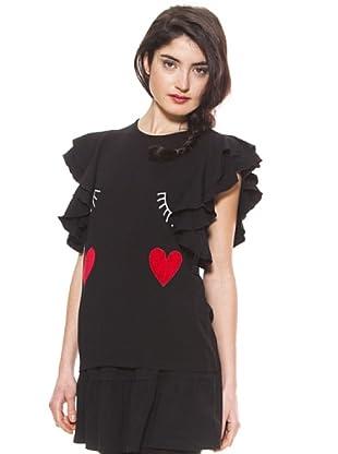 La Casita de Wendy Camiseta Familia Caras (Negro)