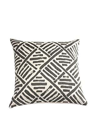 Filling Spaces Hand Printed Brush Stroke Pillow, Slate