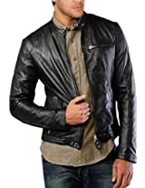 Iftekhar Men's Pure leather Jacket - Black - (Iftekhar36 - XS)
