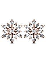 Vorra Fashion New Women's 1Pair Lady Elegant 14k Rose Gold Plated Flower Stud Earrings