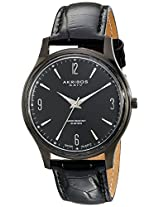 Akribos XXIV Men's Black Leather Analogue Watch - AK539BK