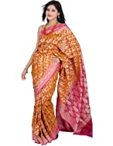 Exotic India Camel-Brown Banarasi Sari with Woven Flowers in Golde - camel brown