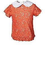 Hip Length Solid Orange Tops