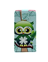 Bracevor Vertical Leather designer Case Flip Cover for for Samsung Galaxy A7 - Green Owl