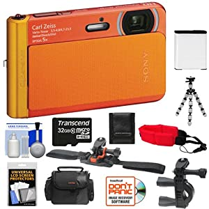 Sony Cyber-Shot DSC-TX30 Shock & Waterproof Digital Camera (Orange) with 32GB Card + Helmet & Handlebar Mounts + Battery + Case + Flex Tripod + Accessory Kit