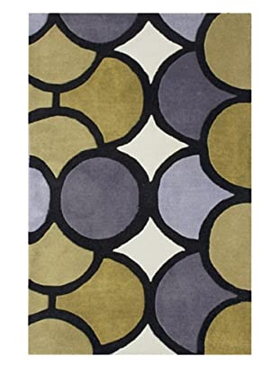 Znz Rugs Gallery Handmade Tufted New Zealand Blend Wool Rug (Olive Green/Ivory/Purple)