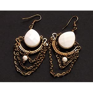 Golden Earrings With White Bead