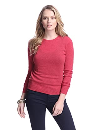 Cashmere Addiction Women's Long Sleeve Crew Neck Sweater (Lipstick)