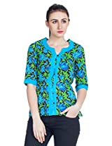 Zovi Cotton Multicolored Printed Waist Elastic Top (10599551601_Small)