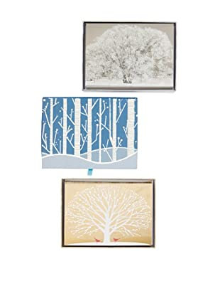 Peter Pauper Press Set of 3 Tree of Life, Frosty Tree and White Birches Holiday Cards