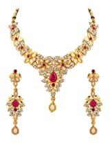 Voylla Necklace Set With Floral Motif Embellished With CZ And Pink Colored Stones