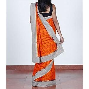 Orange, cotton, warli-printed saree