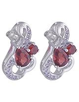 92.5 Sterling Silver Garnet and Cubic Zirconia Gemstone Earrings