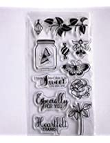 Creative natural sketch scrapbooking transparent rubber stamps freshing sweet flowers patterns 2sheets/lot