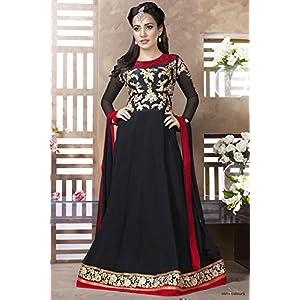 Bollywood Neha Sharma Black Faux Georgette Anarkali Suit