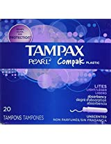 Tampax Compak Pearl Unscented Light Tampons with Plastic Applicator-20 ct by Tampax