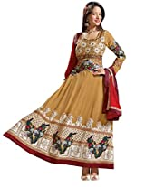Vibes Womens Georgette Patch Work Anarkali Unstitched Dress Material (V162-3008 A _Yellow)