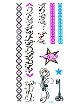Spestyle Temporary Jewelry Tattoos Blue And Silver Fluorescent Metallic Jewelry Tattoo Flowers, Stars, Key, Jewelry Chian And Ancient Words