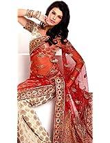 Scarlet and Ivory Designer Wedding Sari with Zardozi Embroidery and Brocaded Bootis - Chiffon