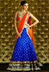 Blue & Orange Bollywood Replica Lehenga