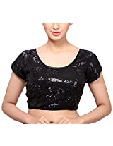 MSM Women's Sequined Regular Fit Saree Blouse (Black)