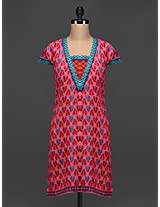 Multicolored Printed Short Sleeves Cotton Kurta