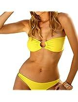 Strapless Yellow Adorable Bandeau Bikini Set