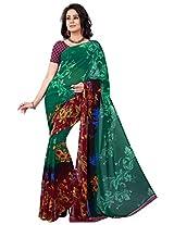 Silk Bazar Women's Faux Georgette Saree with Blouse Piece (Green)