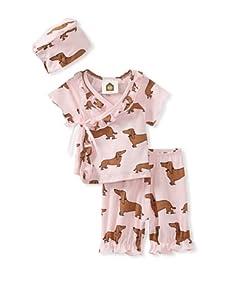 Barn Organics Baby Girl's Kimono Set with Hat (Hot Dog)
