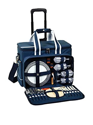 Picnic at Ascot Deluxe Picnic Cooler for Four on Wheels (Navy)