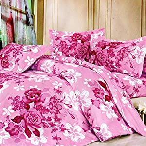 IWS Printed Double Bedsheet with 2 Pillow Covers - Multicolor