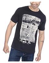 PS Men's C-Neck T-Shirt with Biker photo print - Black, X- Large