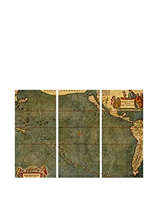 Oliver Gal Mare Pacificum Map 1600S Triptych Canvas Art