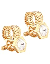 TRIPIN Golden Hexagon Shaped Cufflinks With Chain With Rivoli Stone With A Chain
